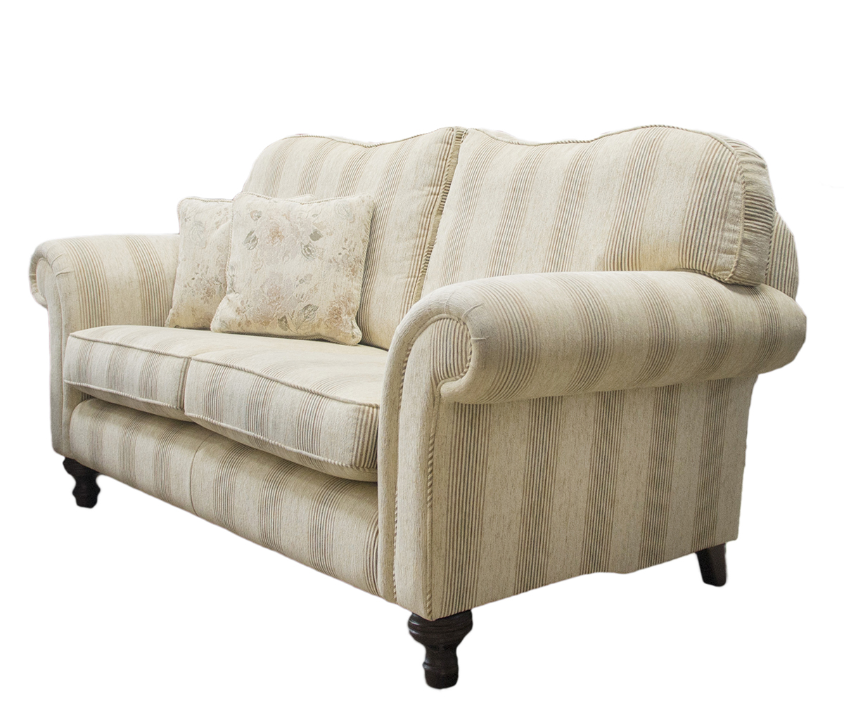 Newbury Large Sofa Side in Eustacy Stripe Silver Collection Fabric