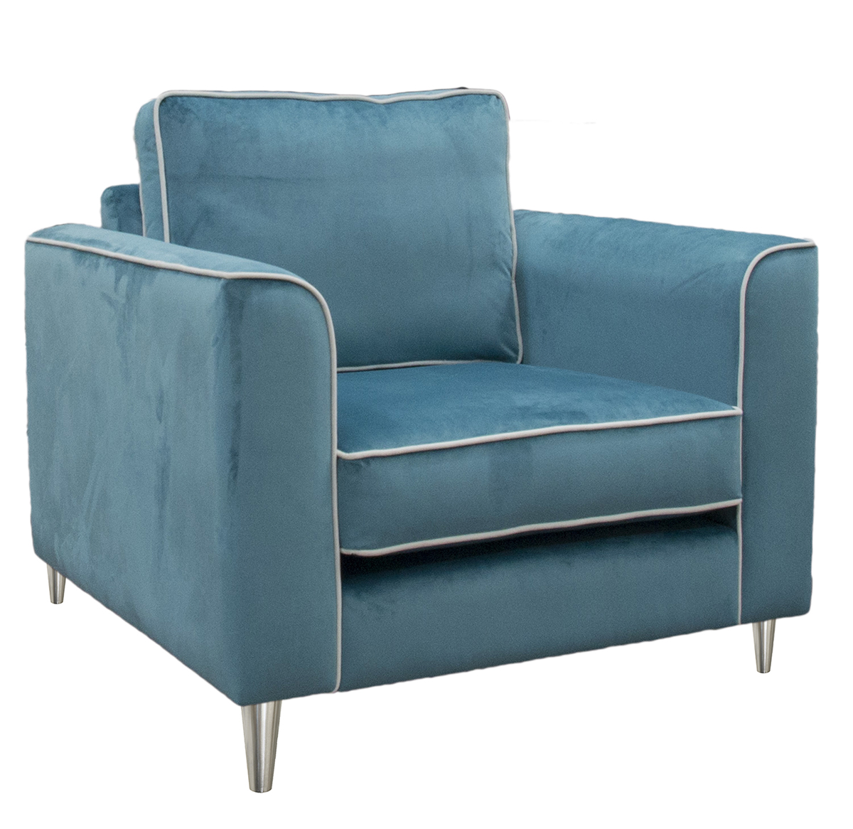 Nolan chair in  Luxor TurquoiseSilver Collection Fabric