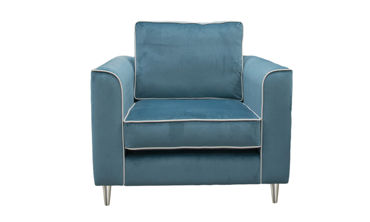 Nolan Chair in  Luxor Turquoise, Silver Collection Fabric