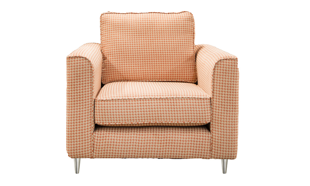 Nolan Chair in Poppy Orange, Silver Collection Fabric