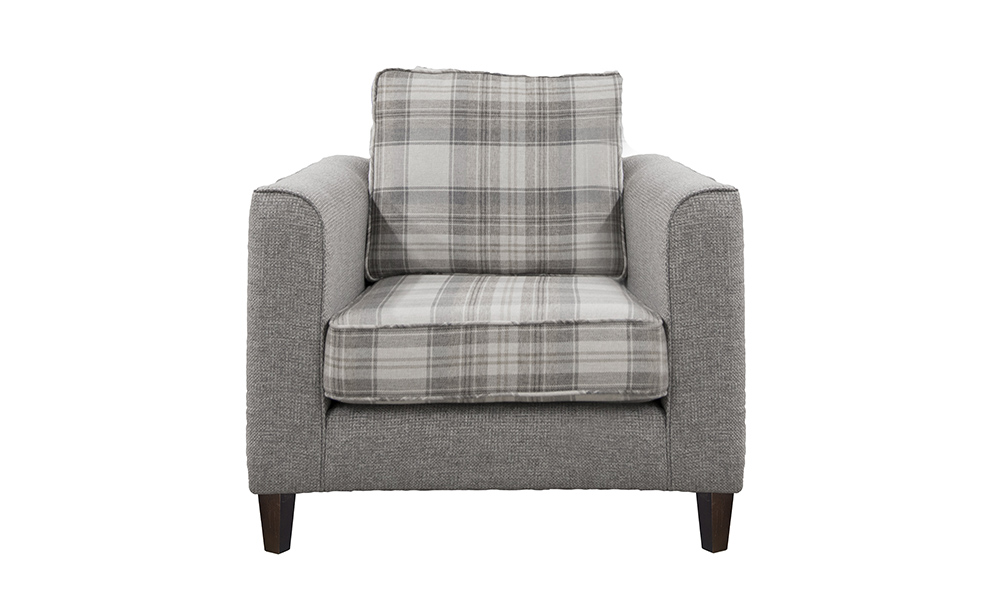Bespoke Size Nolan chair in aviemore plaid and Milwaukee grey