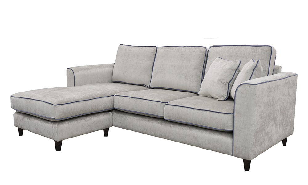 Nolan 3 Seater Chaise End Sofa in Edinburgh French Grey, Silver Collection Fabric