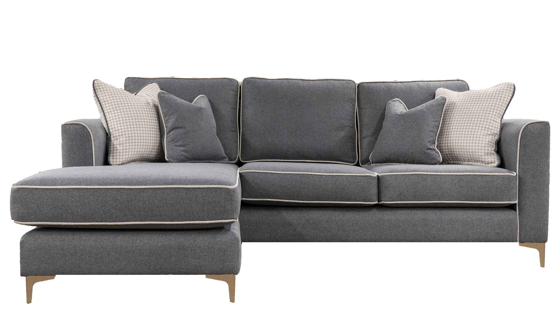 Nolan 3 Seater Chaise End Sofa in Soho Dark Grey, Silver Collection Fabric