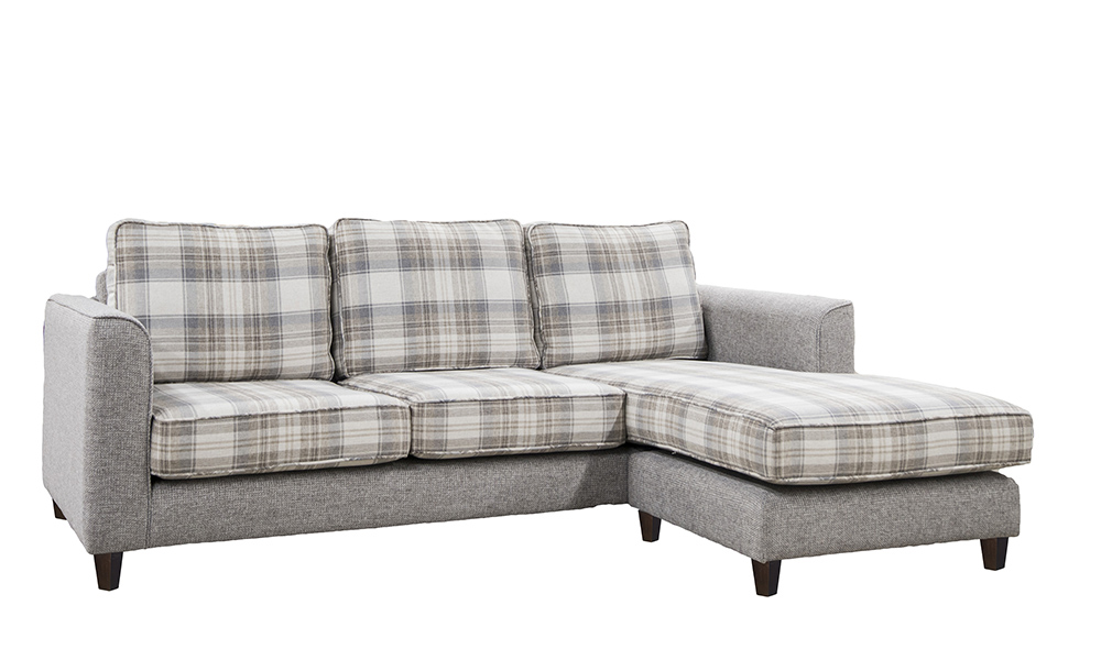 Nolan 3 Seater chaise end sofa in avivemore plaid and milwaukee grey