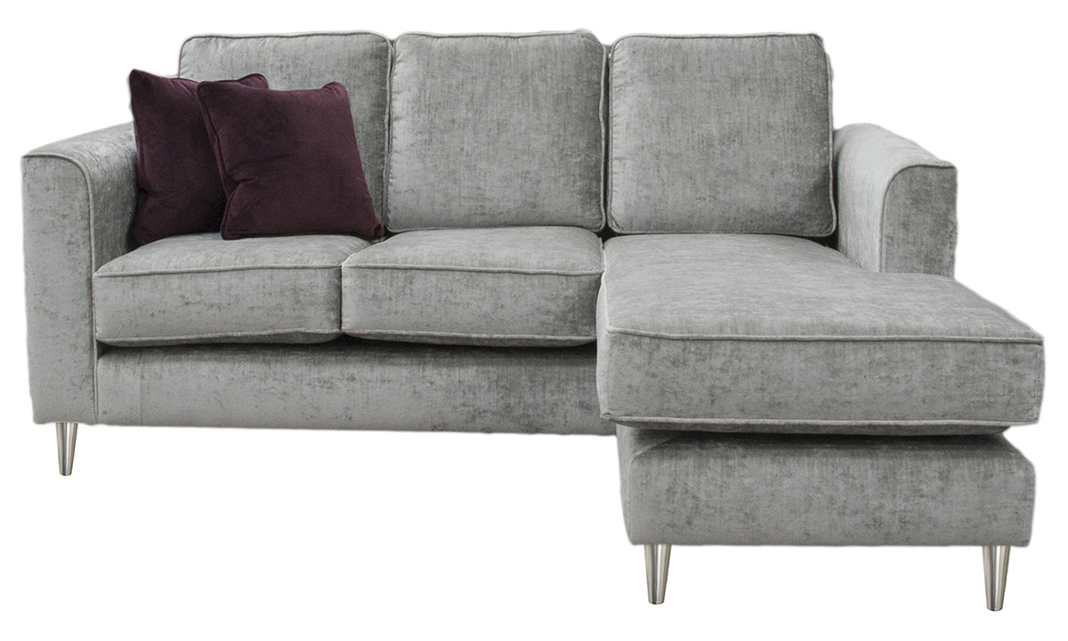 Bespoke Size Nolan 3 Seater Chaise End in Mancini Pewter, Gold Collection Fabric