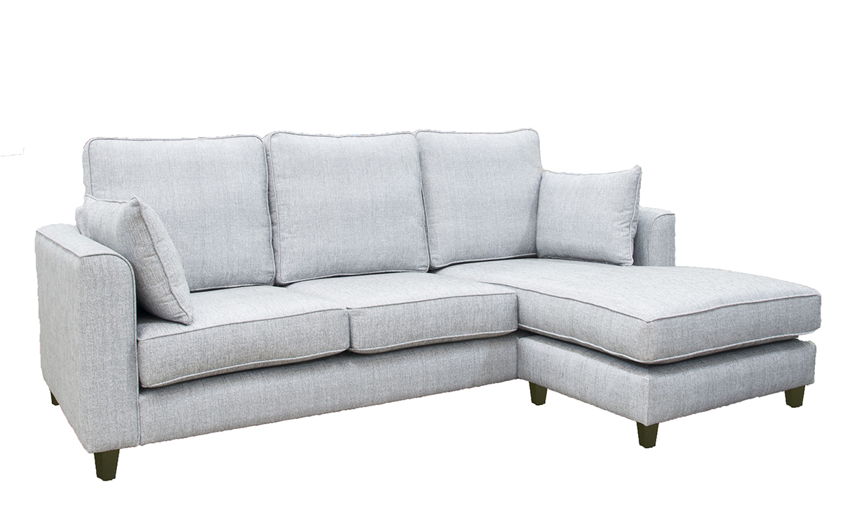 Nolan 3 SaNolan 3 Seater Chaise End Sofaeater Chaise End Sofa in a Silver Collection Fabric