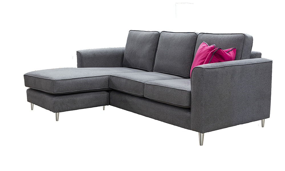 Nolan 4 Seater Chaise End Sofa in Soho Dark Grey, Silver Collection Fabric