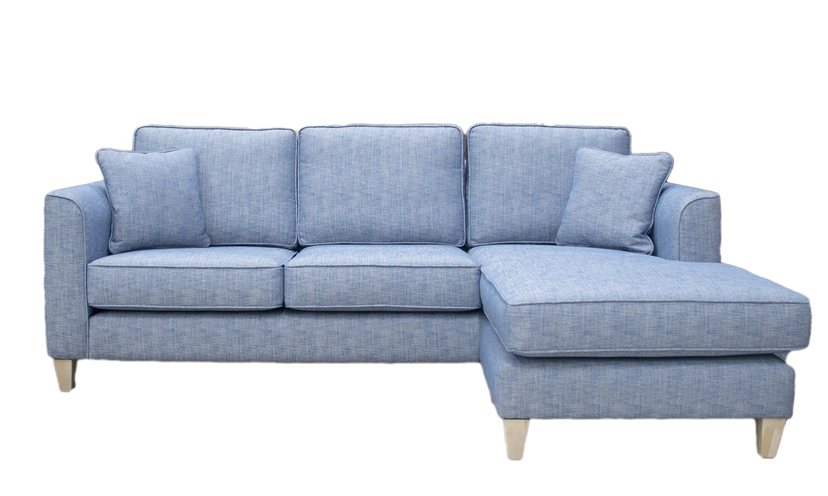 Nolan 3 Seater Chaise End Sofa in a Volkan Plain, Silver Collection Fabric
