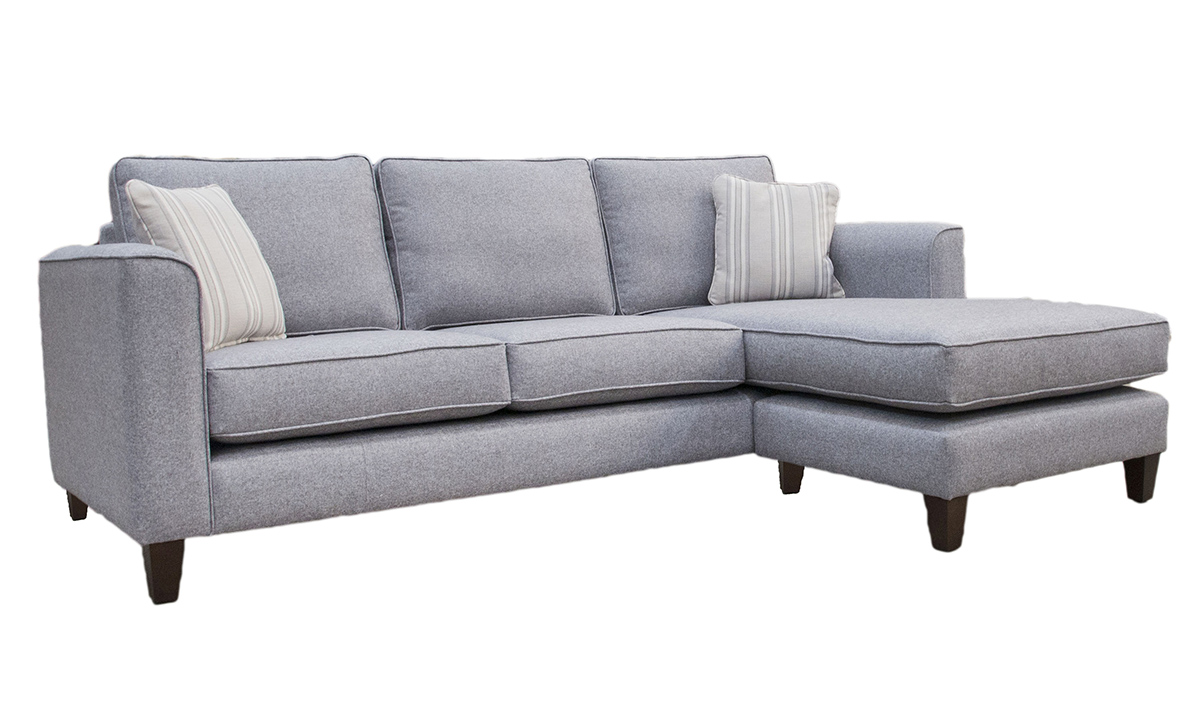 Nolan 3 Seater Chaise End Sofa in Tweed Gallant, Silver Collection Fabric
