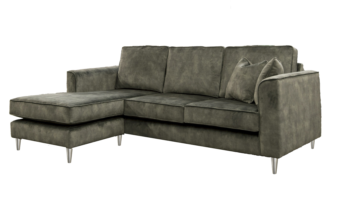 Nolan 3 Seater Chaise End Sofa in Lovely Jade, Gold Collection Fabric
