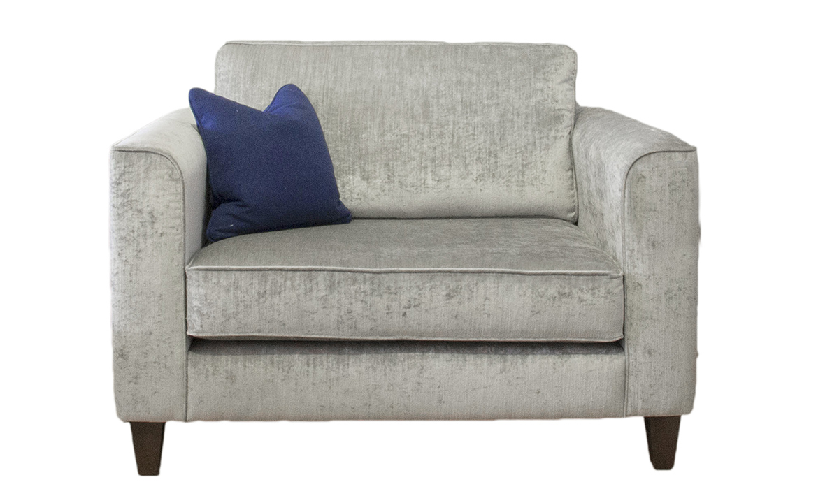 Nolan Love Seat in Mancini Pewter, Gold Collection Fabric