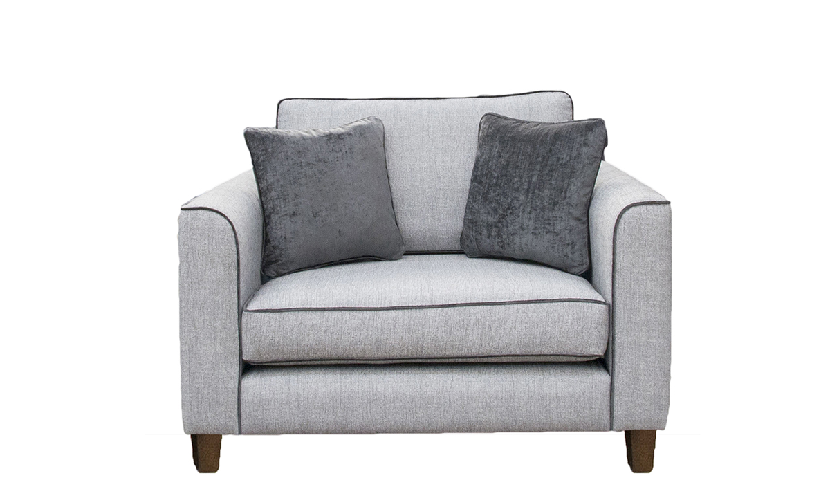 Nolan Love Seat in Aosta Silver, Silver Collection Fabric