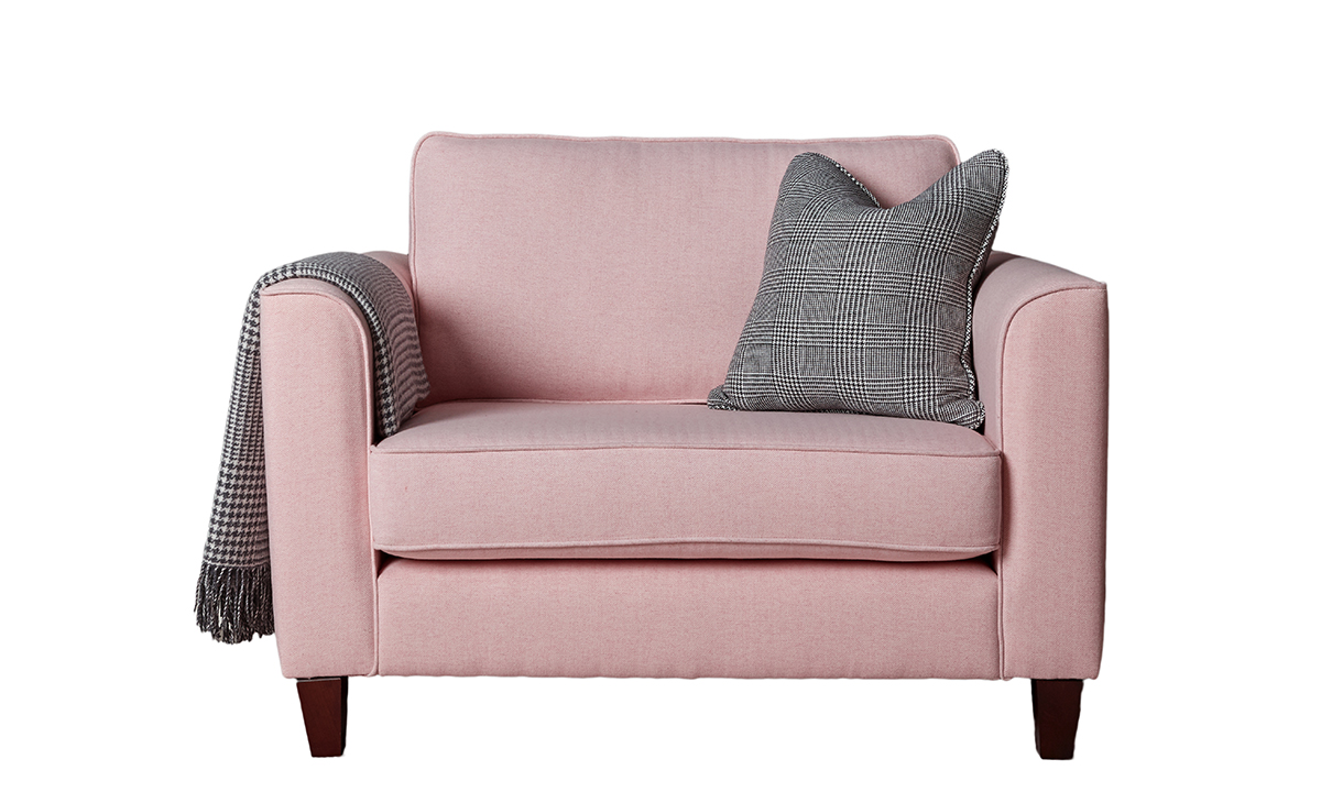 Nolan Love Seat in Foxford White, Camasole Herringbone in Platinum Fabric Collection