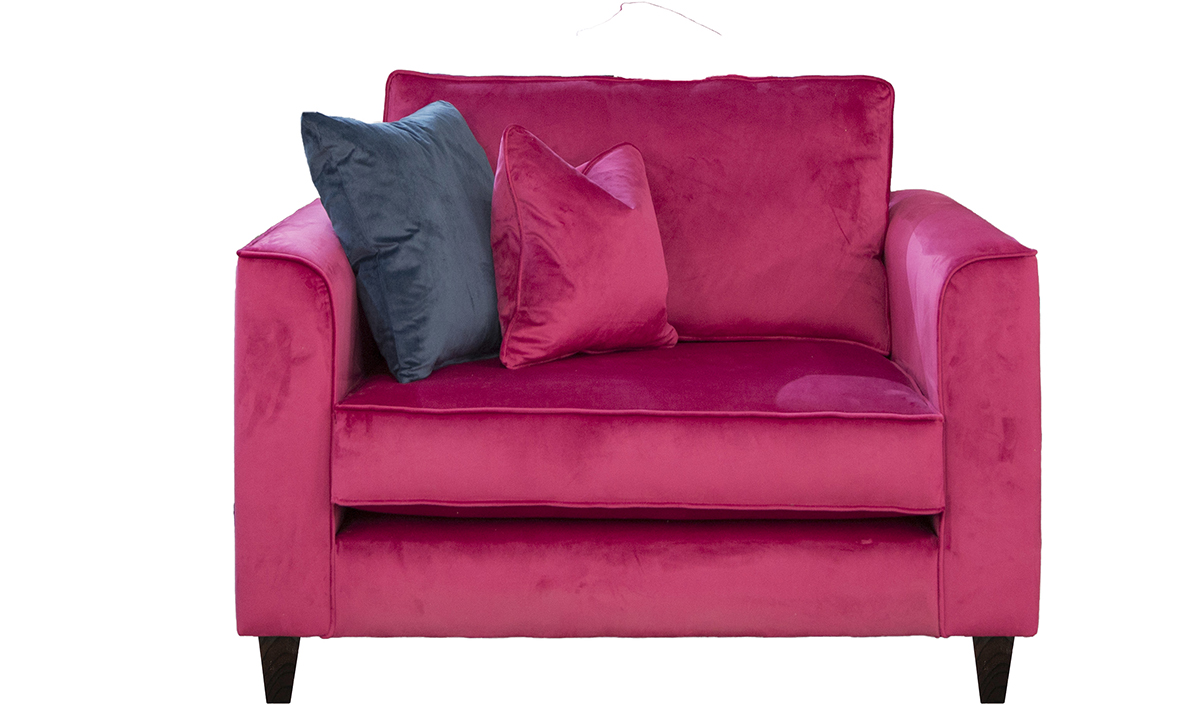 Nolan Love Seat in Luxor Cerise, Silver Collection Fabric