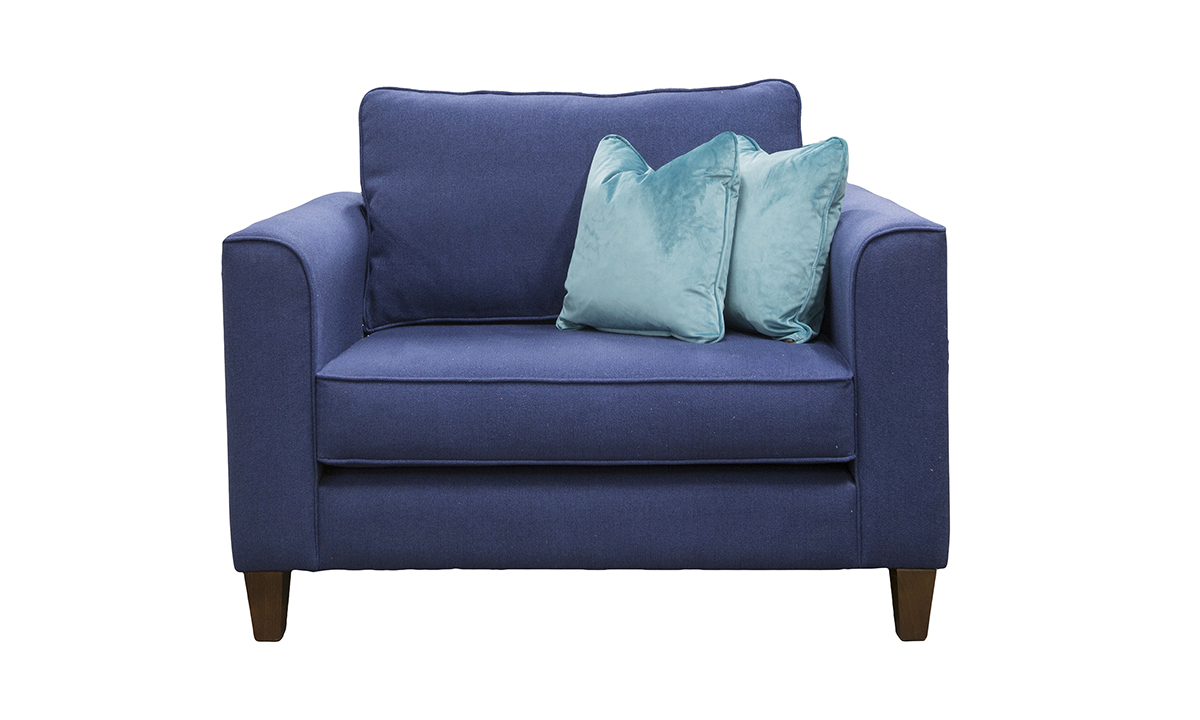 Nolan Love Seat in San Francisco Blue, Bronze Collection Fabric