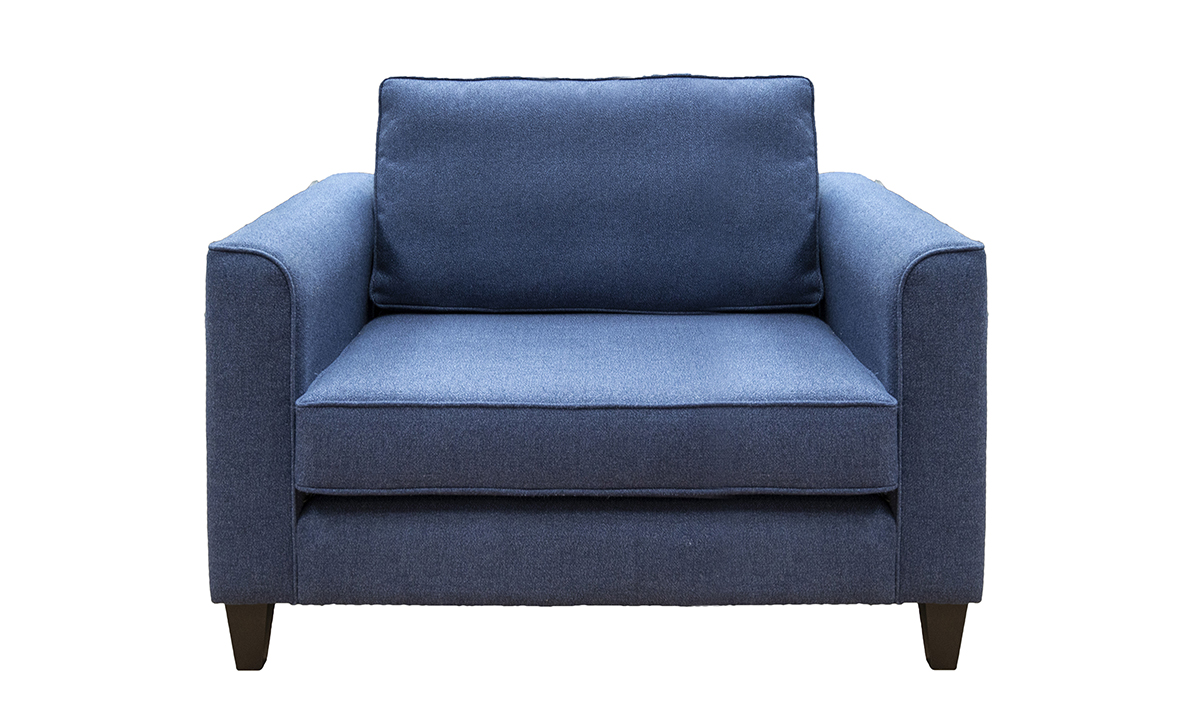 Nolan Love Seat in Luca Navy, bronze Collection Fabric
