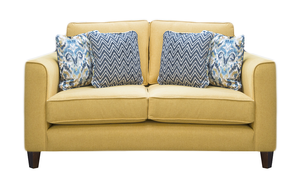 Nolan 2 Seater Sofa in Soho Mustard, Silver Collection Fabric