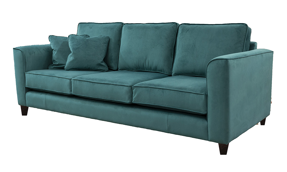 Nolan 3 Seater Sofa in Warwick Plush Kingfisher, Gold Collection Fabric