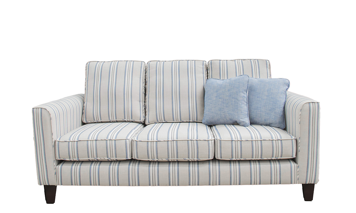 Nolan 3 Seater Sofa (bespoke size) in Vardi Stripe, Silver Collection Fabric