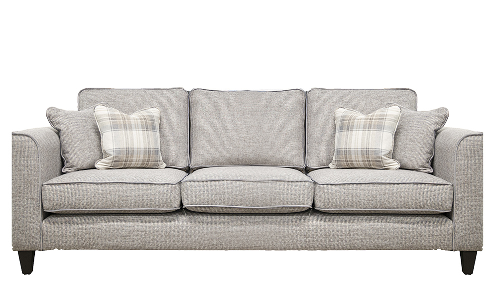 Nolan 3 Seater Sofa in Milwaukee Grey, Bronze Collection Fabric