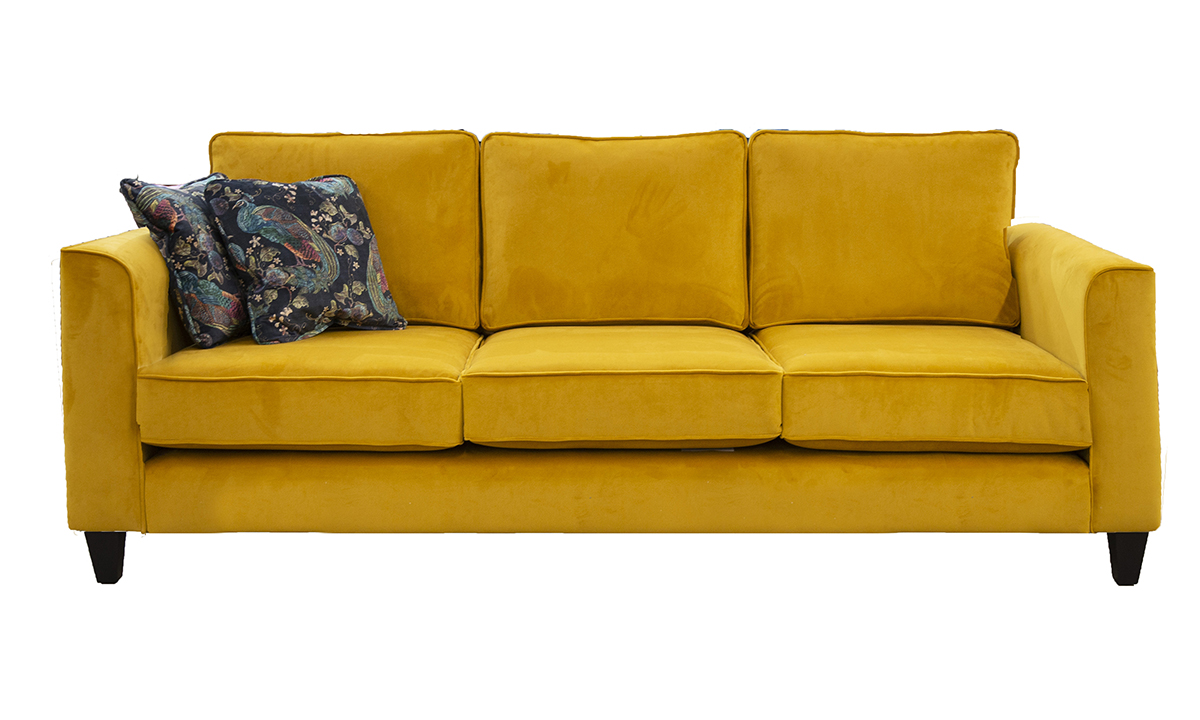 Nolan 3 Seater Sofa in Warwick Plush Turmeric, Gold Collection Fabric