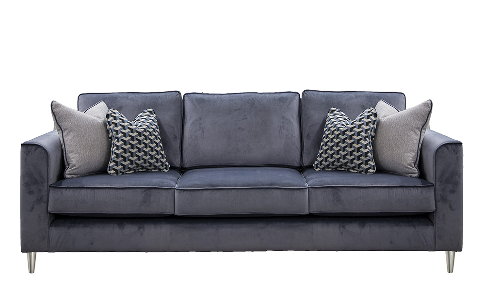 Nolan 3 Seater Sofa in Luxor Tempest, Silver Collection Fabric