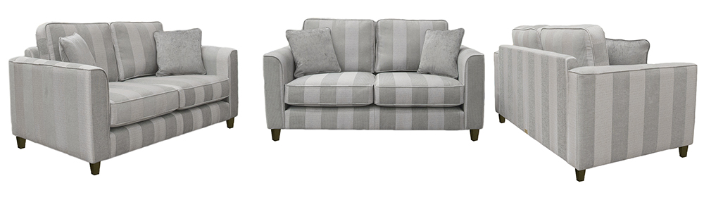 Nolan Small Sofa Nebbiolo Stripe Powder Platinum Collection