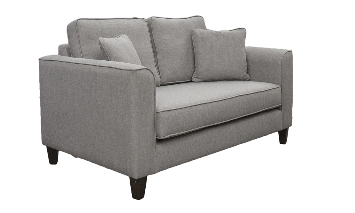 Nolan 2 Seater Sofa with a Bench Seat (bespoke option) in Aosta Silver, Silver Collection