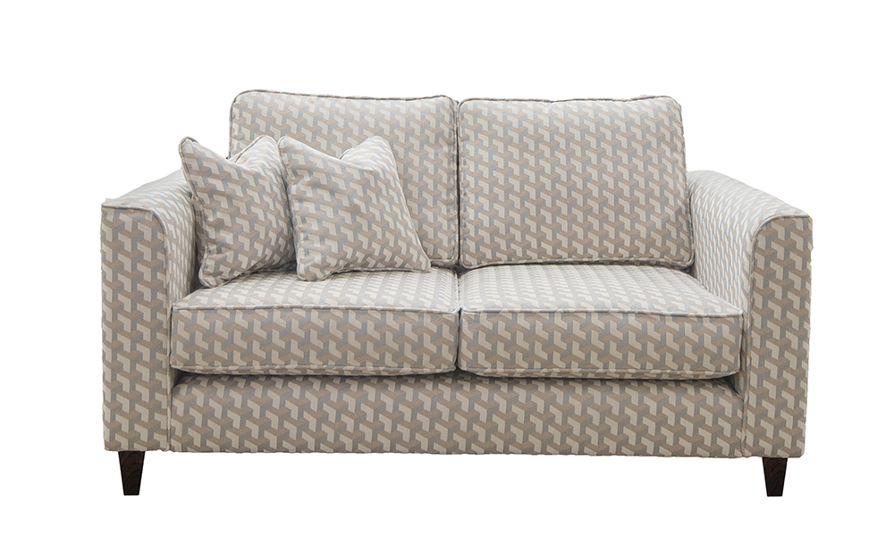 Nolan 2 Seater Sofa in Levonne Dusk, Silver Collection of Fabrics