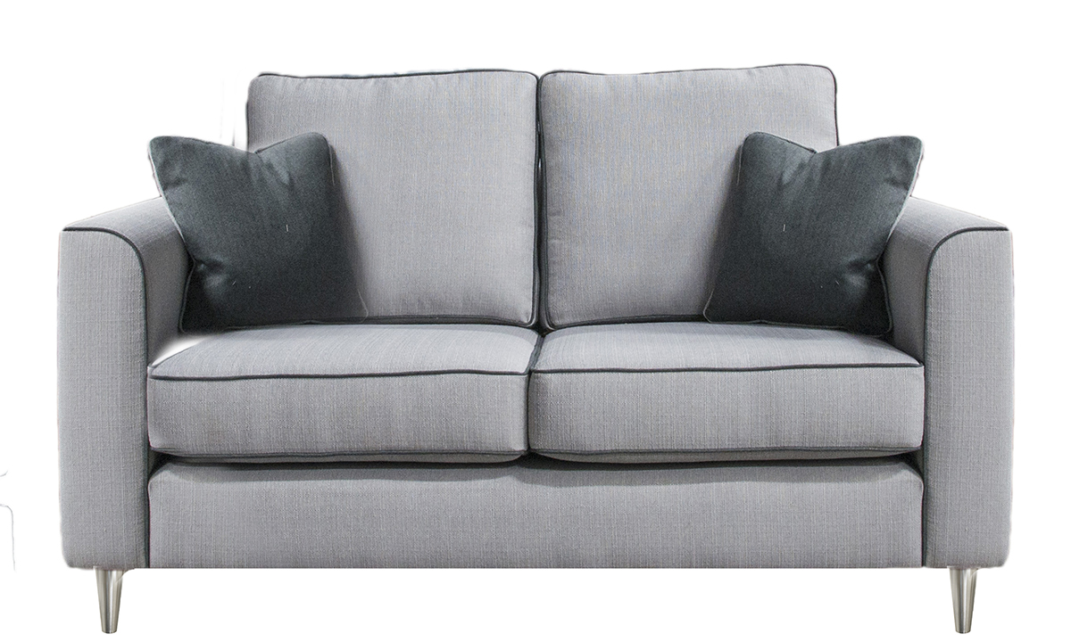 Nolan Small Sofa in Aosta Silver, Silver Collection Fabric
