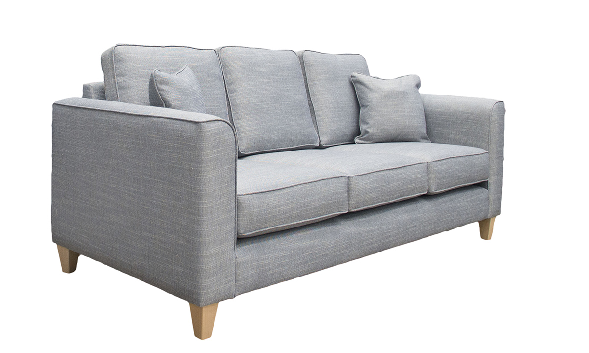 Nolan 3 Seater Sofa (bespoke size) in Ado Coal, Bronze Collection Fabric