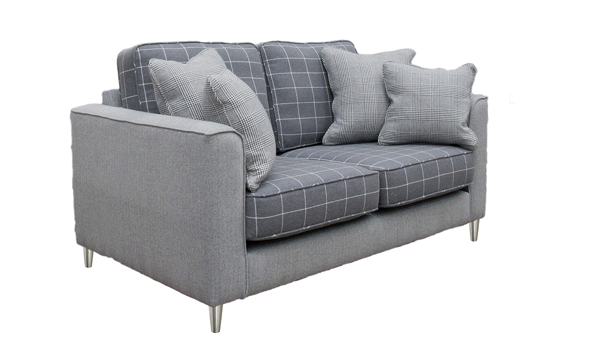 Nolan Small Sofa, Seat & Back Cushions in  Foxford Oxford White Windowpane, Frame in Oxford Herringbone, Platinum  Collection Fabric