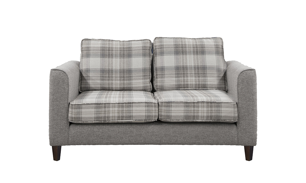 Nolan small sofa in aviemore plaid and Milwaukee grey