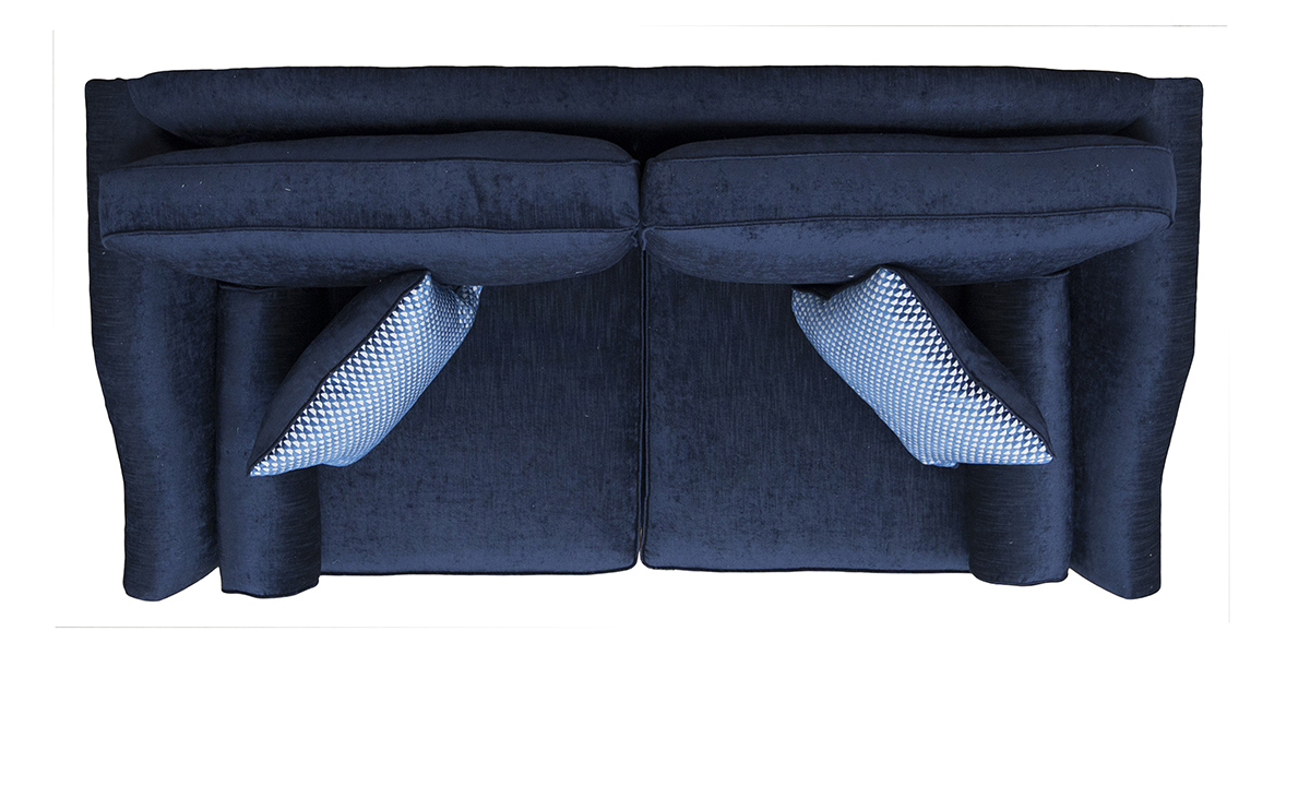 Othello Large Sofa Top View in Edinburgh Carbon, Silver Collection Fabric.