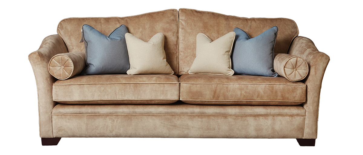 Othello Large Sofa in Lovely Mocha Gold Collection Fabric