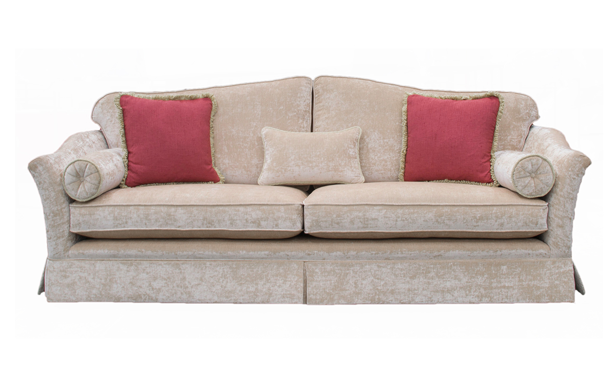 Bespoke Othello Large Sofa with skirt in a Platinum Collection Fabric