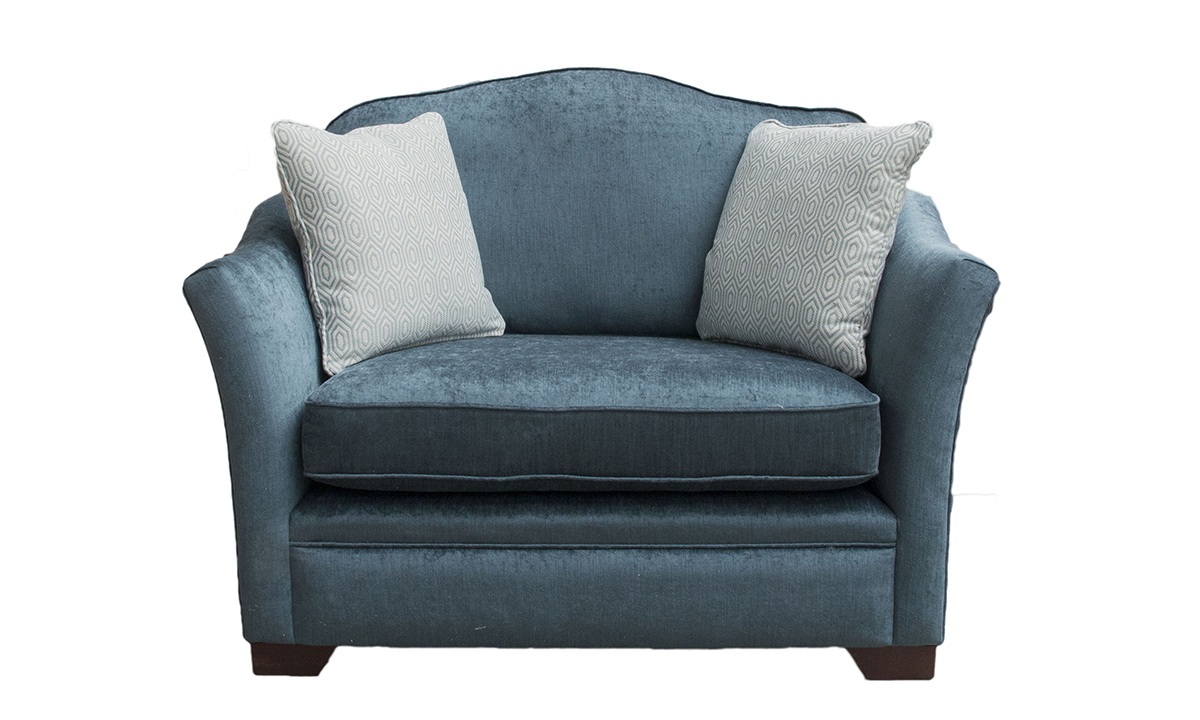 Othello Love Seat in  Edinburgh Petrol, Silver Collection Fabric