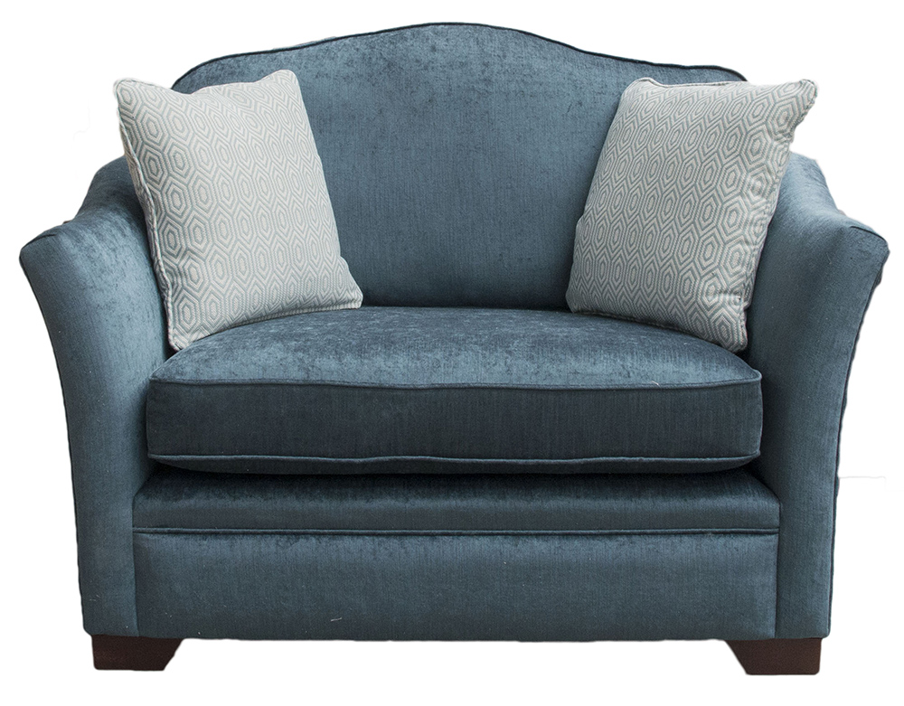 Othello Love Seat in  Edinburgh Petrol Silver Collection Fabric