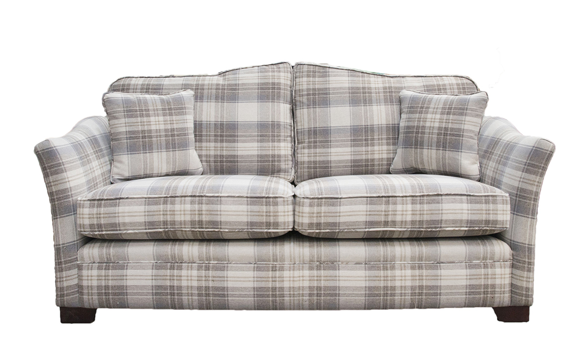 Othello Small Sofa - Aviemore Plaid Linen - Silver Collection