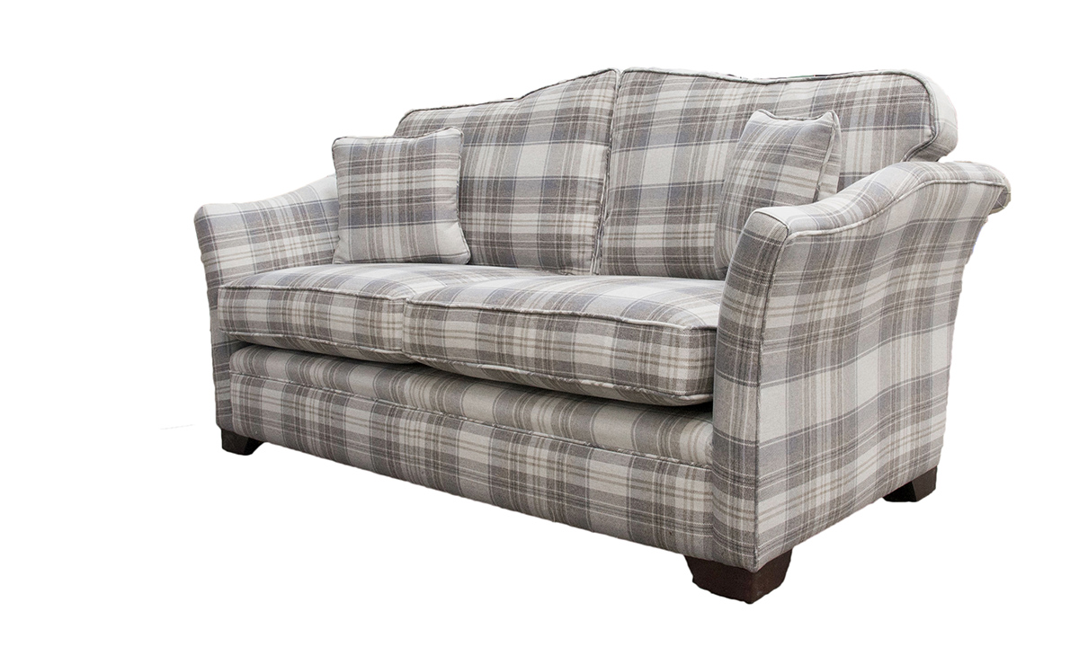 Othello Small Sofa Side - Aviemore Plaid Linen - Silver Collection