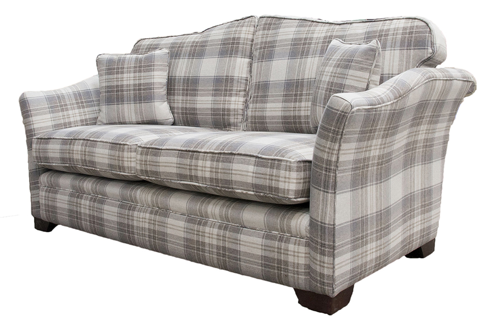 Othello Small Sofa in Aviemore Plaid Linen  Silver Collection Fabric