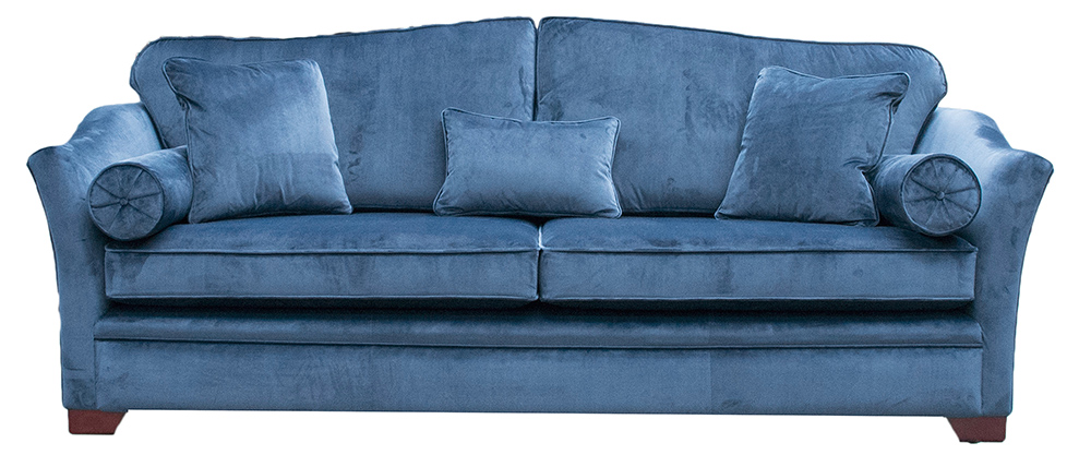 Bespoke Large Othello Sofa Finished at  274cm in Luxor Pacific Silver Collection Fabric
