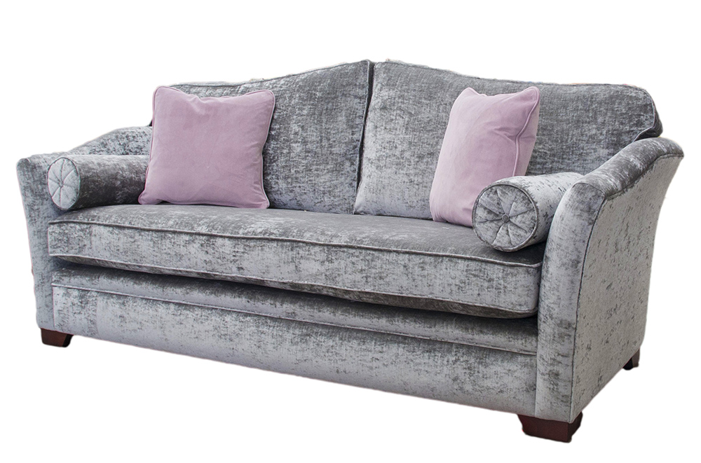 Bespoke Othello Sofa with a  Bench Seat  Modena Regency Grey Platinum Collection Fabric