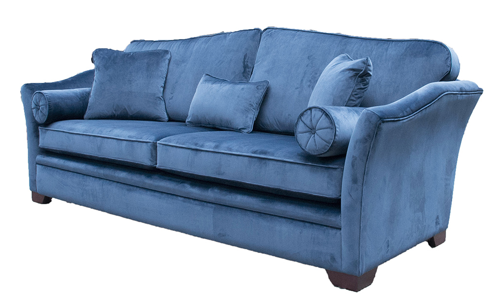 Bespoke Othello Sofa Finished at  274cm in Luxor Pacific Silver Collection Fabric