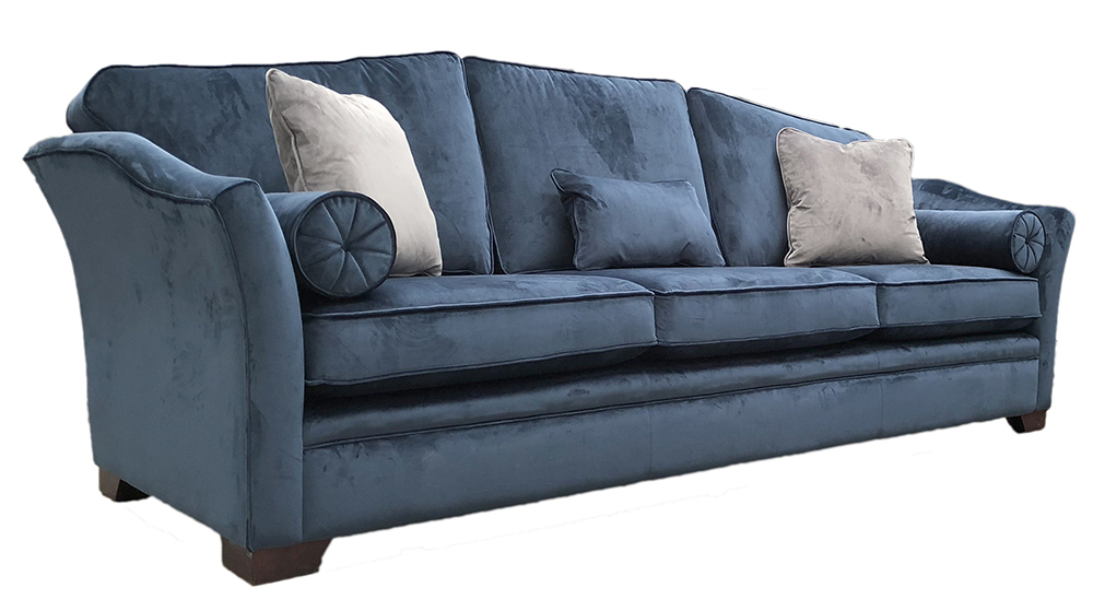 Bespoke Othello Sofa Finished at 274cm & 3 seat cushions in Luxor Pacific Silver Collection Fabric