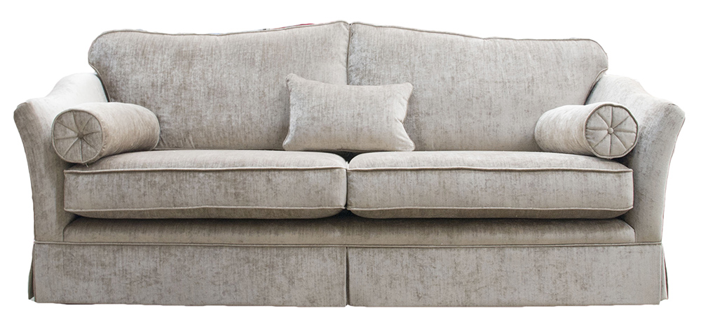 Bespoke Othello Sofa Finished with a skirt Edinburgh  French Grey Silver Collection Fabric