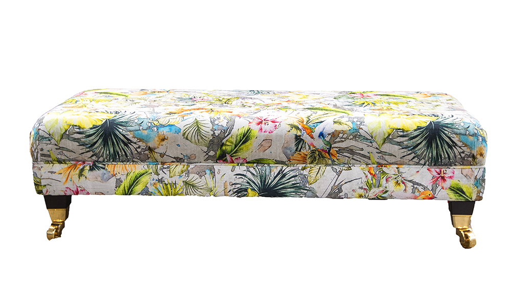 Ottolong Footstool in Multi Paradise, Platinum Collection Fabric