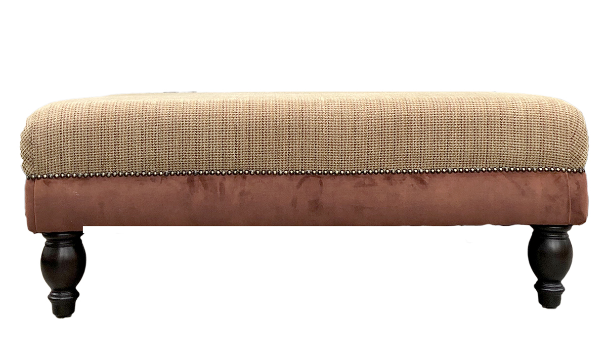 Ottoman in Portland Houndstooth Rioja Base Lovely Umber