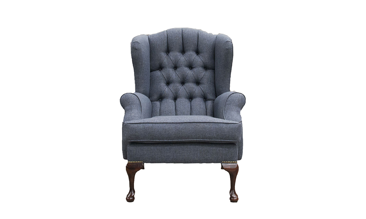 Queen Anne Chair Deep Button Back -Queen Anne Chair with a Deep Button Back in Ado Marine, Bronze Collection Fabric