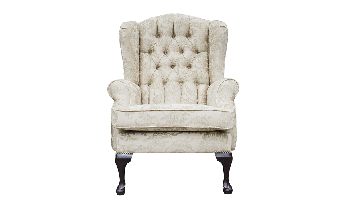 Queen Anne Chair with a Deep Button Back inBurton Champagne Pattern, Silver Collection Fabric
